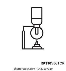 Siphon coffee brewing line icon. Outline symbol of coffee making equipment and hot drink preparation. Kitchenware flat vector illustration.