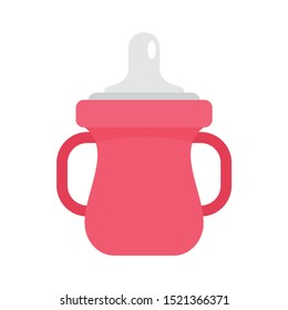 Sippy cup icon. Flat illustration of sippy cup vector icon for web design
