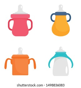 Sippy cup icon set. Flat set of sippy cup vector icons for web design