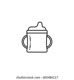 Sippy cup outline icon. Baby cup