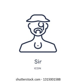 sir icon from people outline collection. Thin line sir icon isolated on white background.