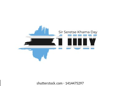 Sir Seretse Khama Day - Botswana national holiday greeting card, poster, banner design. Celebrate birthday first president of Botswana.  Flag with hand drawn ink brush stripes on white background.