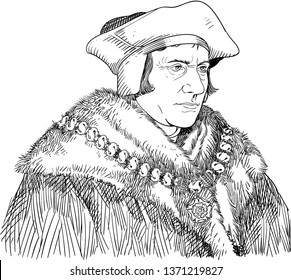 Sir Thomas More (1478-1535) portrait in line art illustration. He was an English lawyer, social philosopher, author, statesman and noted Renaissance humanist.