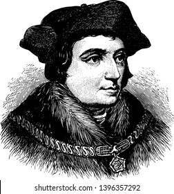 Sir Thomas More face after Holbein in this picture, vintage line drawing or engraving illustration.