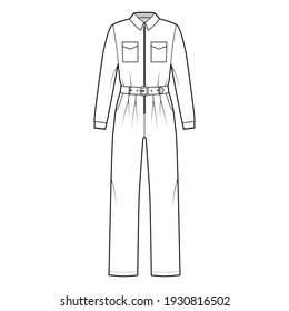 Siren full length overall jumpsuit technical fashion illustration.  It has a belt and zipper closure; normal waist with long sleeves and pockets. Flat Dungaree front, white color style. Women, unisex CAD mockup
