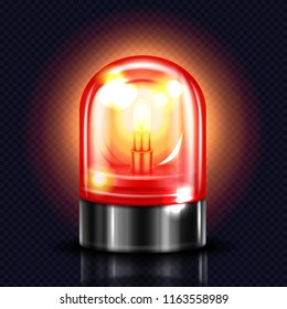 Siren light vector illustration of red alarm lamp or police and ambulance emergency flasher. Isolated realistic 3D alert beacon on dark transparent background