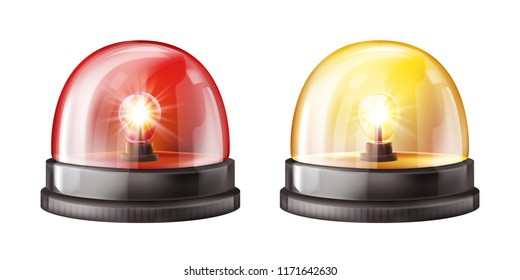 Siren lights vector illustration of red and yellow alarm lamps or police and ambulance emergency flashers. Isolated realistic 3D alert beacons set on white transparent background