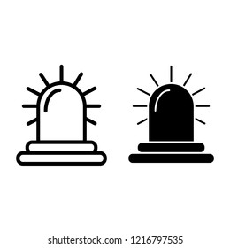 Siren line and glyph icon. Alarm vector illustration isolated on white. Police siren outline style design, designed for web and app. Eps 10
