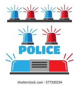 Siren set. Police flasher or ambulance flasher icons. Police flasher vector
