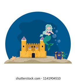 siren woman under water with castle and coffer