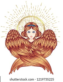 Sirin, Alkonost, Gamayun mythological creature of Russian legends. Angel girl with wings. Isolated hand drawn vector illustration. Trendy Vintage style element. Spirituality, occultism, alchemy, magic