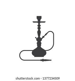 Sisha icon isolated on white background. Hookah black and white flat style sillhouette illustration.