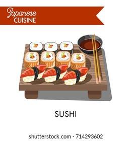 Sishi Japanese food seafood sashimi rolls vector icon