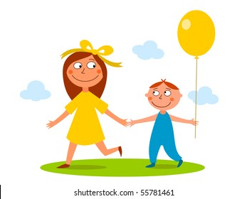 Sister, brother and balloon - vector
