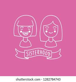 sisterhood doodle illustration icon
