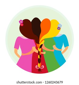 Sisterhood vector illustration icon. Group of girls