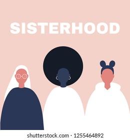 Sisterhood. Woman, girl. Gender equality. Feminism. Set of female portraits. Flat editable vector illustration, clip art.
