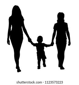 Sisters with toddler walking vector silhouette