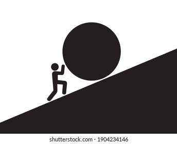 Sisyphean task - Sisyphus is pushing and rolling a big heavy ball and boulder upwards the steep hillside of hill. Monochrome black and white vector illustration.
