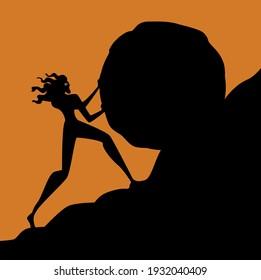 Sisyphus greek myth rolling a rock in a mountain