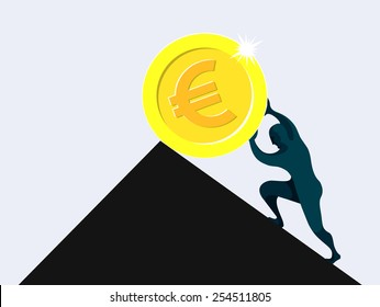 Sisyphus, man rolling and pushing dollar coin uphill on a slippery slope, pointless, vane, wasted effort