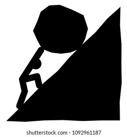 Sisyphus vector illustration, black icon