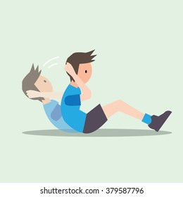 sit up exercise-cartoon vector