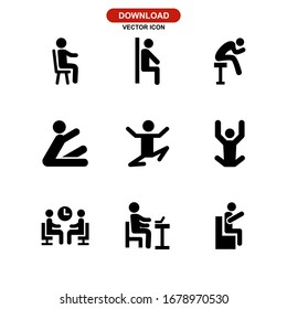 sit icon or logo isolated sign symbol vector illustration - Collection of high quality black style vector icons