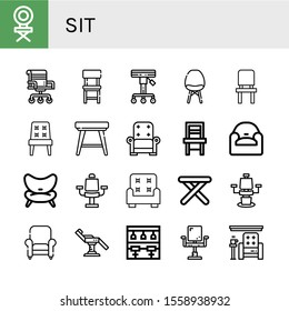 sit simple icons set. Contains such icons as Chair, Stool, Armchair, Bar stool, can be used for web, mobile and logo