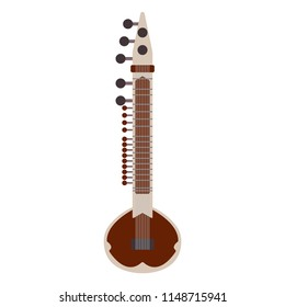 Sitar Instrument - Popular Indian instrument sitar isolated on white background