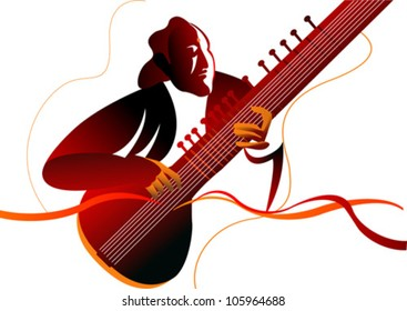 sitarist in silhouette effect