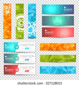 Site Banner Collection. Polygon and Blurred Effects. Headers Set. Hero Backgrounds