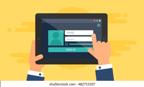 Site login form on tablet. Vector