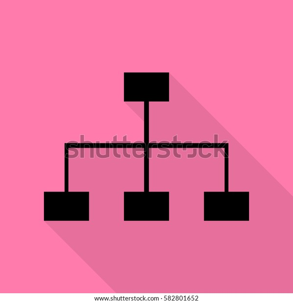 Site map sign. Black icon with flat style shadow path on pink background.