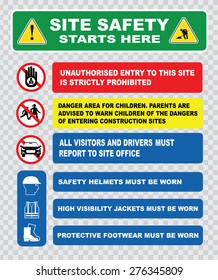 site safety starts here or site safety sign (children must not play on this site, strictly no admittance to unauthorized personnel, safety ppe must be worn).