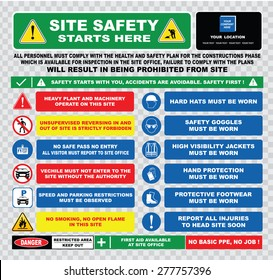 site safety starts here or site safety sign (hard hats, safety goggles, visibility jackets, hand protection, protective footwear, injuries, restricted area, heavy plant)