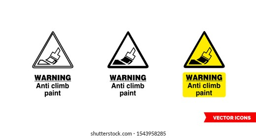 Site security sign warning anti climb paint icon of 3 types: color, black and white, outline. Isolated vector sign symbol.