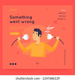 Site template, error, 404. Web page design. Website and mobile development. Flat vector illustration in cartoon style.