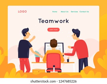 Site template, Teamwork, brainstorming, conference, concept discussion, meeting. Web page design. Website and mobile development. Flat vector illustration in cartoon style.