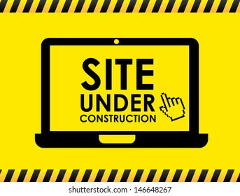 site under construction over yellow background vector illustration