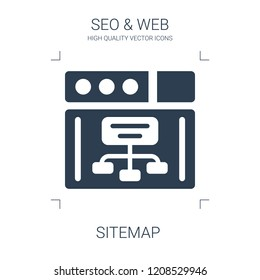 sitemap icon. high quality filled sitemap icon on white background. from seo web collection flat trendy vector sitemap symbol. use for web and mobile