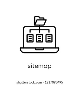 Sitemap icon. Trendy modern flat linear vector Sitemap icon on white background from thin line Programming collection, editable outline stroke vector illustration