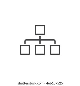 Sitemap line icon, chart outline vector logo, linear pictogram isolated on white, pixel perfect illustration