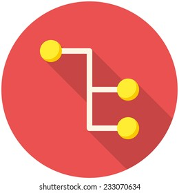Sitemap, modern flat icon with long shadow