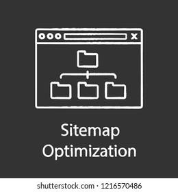 Sitemap optimization chalk icon. Site content organization. Web site map optimization. SEO. Data organization. XML sitemap. Isolated vector chalkboard illustration