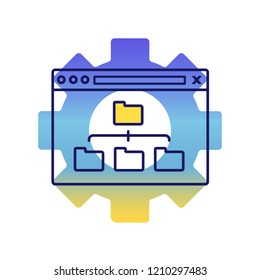 Sitemap optimization color icon. Site content organization. Web site map optimization. SEO. Data organization. XML sitemap. Isolated vector illustration