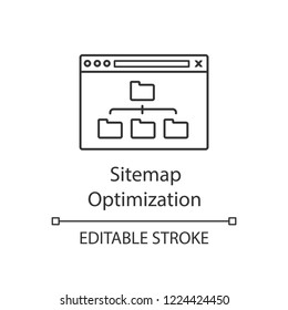 Sitemap optimization linear icon. Site organization. Thin line illustration. Web site map optimization. SEO. Data organization. XML sitemap. Contour vector isolated outline drawing. Editable stroke