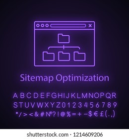Sitemap optimization neon light icon. Site content organization. Web site map optimization. SEO. Data organization. XML sitemap. Glowing sign with alphabet, numbers. Vector isolated illustration