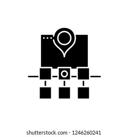 Sitemap web structure black icon, vector sign on isolated background. Sitemap web structure concept symbol, illustration