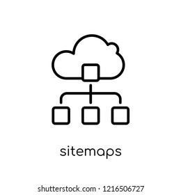 Sitemaps icon. Trendy modern flat linear vector Sitemaps icon on white background from thin line Technology collection, editable outline stroke vector illustration